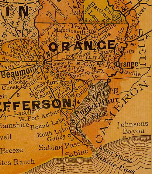 Orange County TX 1920 Map
