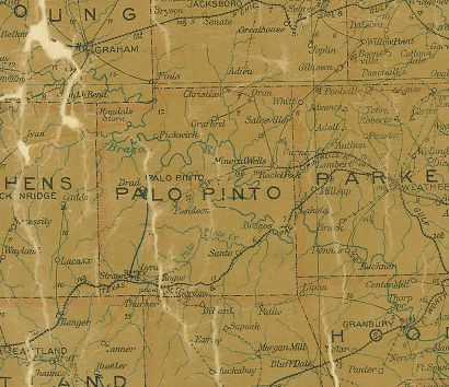 Palo Pinto County Texas 1907 Postal map