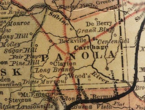 Panola County Texas  1872  map