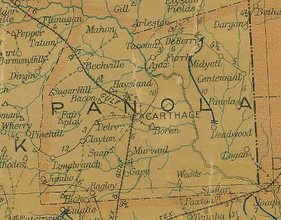 Panola County TX 1920 Map