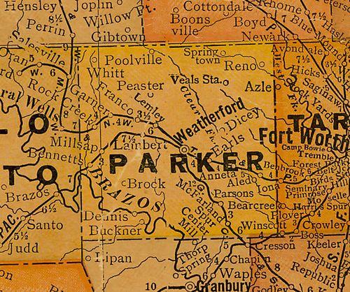 Parker County Texas 1920s map