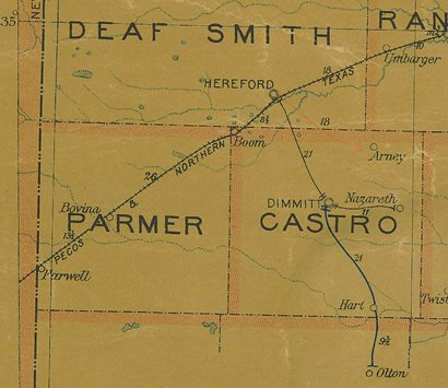 TX - Parmer County 1907 postal map