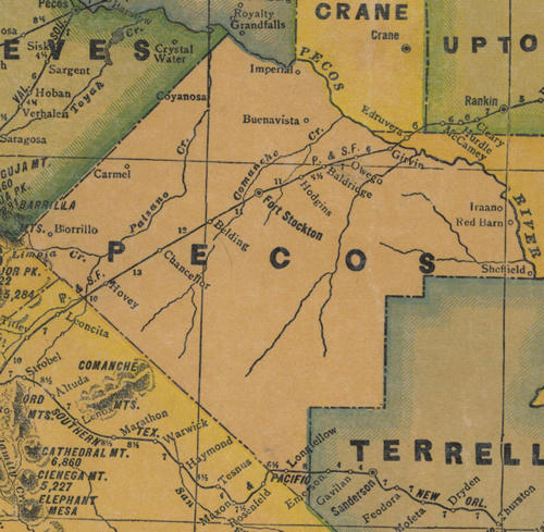 Pecos County TX 1940s Map
