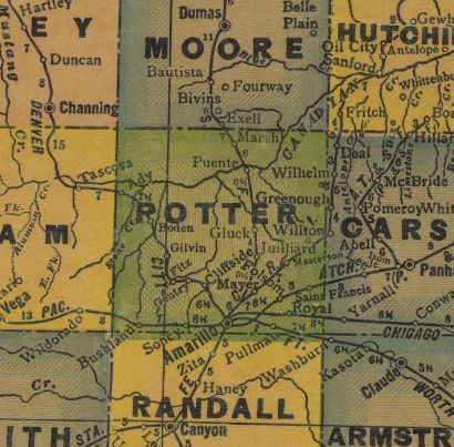 Potter County Texas 1940s map