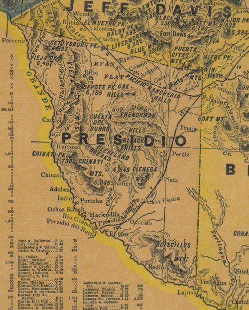 Presidio County TX 1940s Map