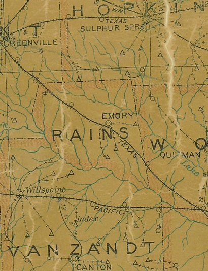 Rains County TX 1907 psotal map