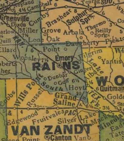 Rains County 1920s map