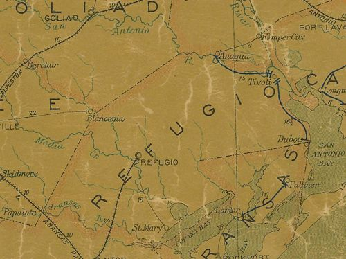 Refugio County TX 1907 postal map