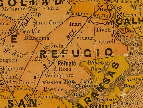 TX Refugio County 1920s Map