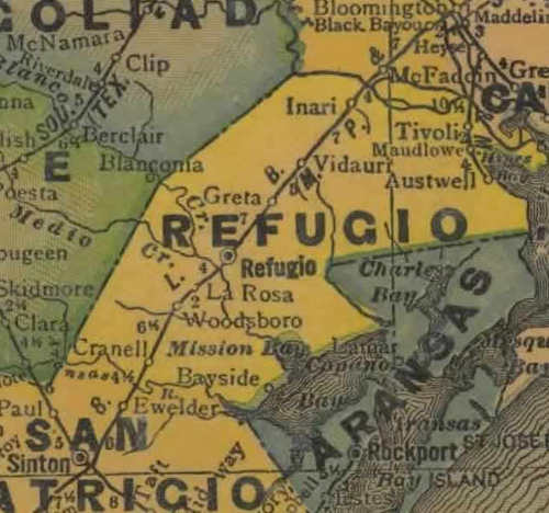 TX Refugio County 1940s Map