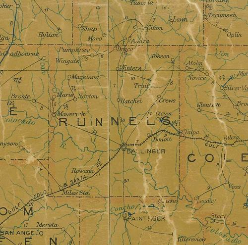 Runnels County Texas 1907 map