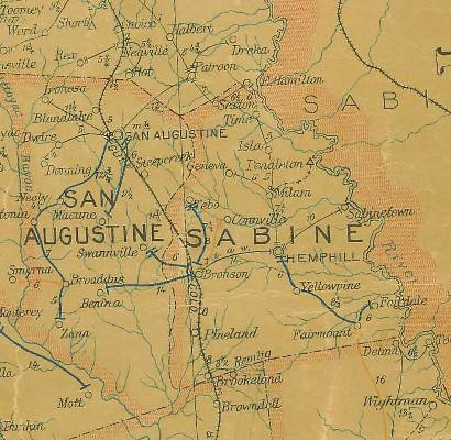 TX - Sabine  County 1907 postal map
