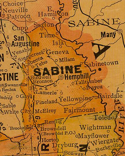TX Sabine   County 1920s Map