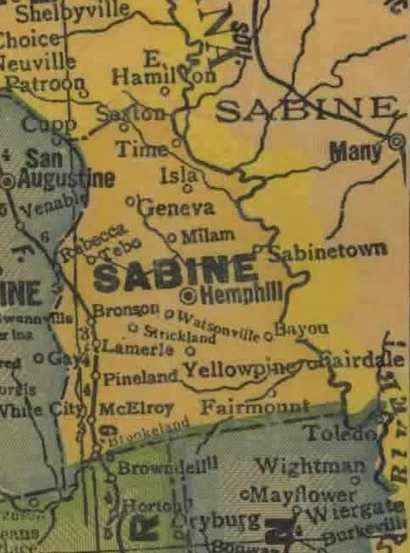 TX Sabine County 1940s Map