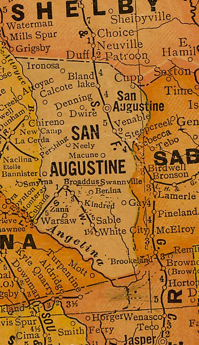 San Augustine  County TX 1920s map