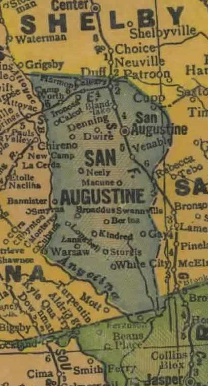 San Augustine  County TX 1940s map