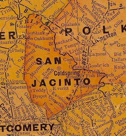 San Jacinto Texas 1920s map