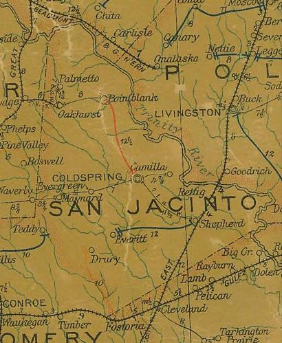 TX San Jacinto County  1907 Postal Map