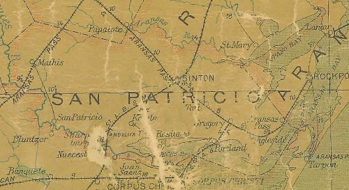 San Patricio County TX 1907 Postal Map