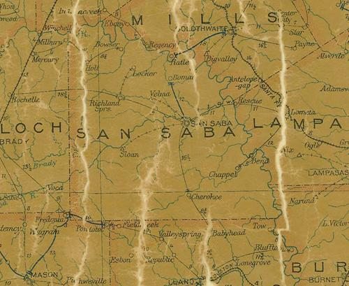 TX San Saba  County 1907 Postal Map