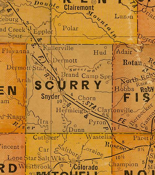 TX Scurry County 1920s Map