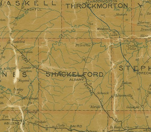 TX Shackelford County 1907 Postal Map