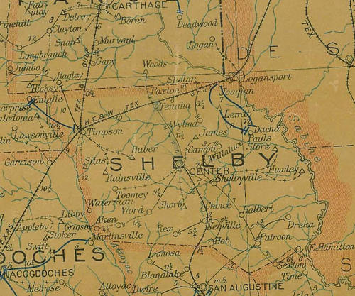 Shelby  County TX 1907 postal map