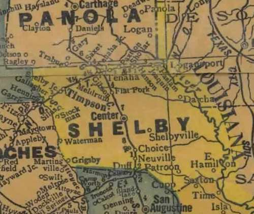 TX Shelby County 1940s Map