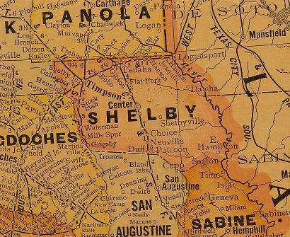 Shelby County Texas 1920s map