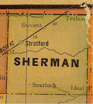 Sherman County Texas 1920s map