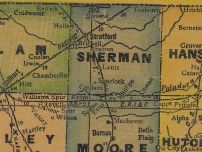 Sherman County Texas 1940s old map