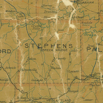 TX - Stephens County 1907 postal map