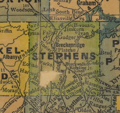 Stephens County Texas 1940s map