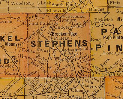 Stephens County Texas 1920s map