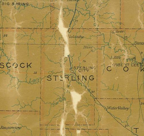 Sterling County TX 1907 postal map