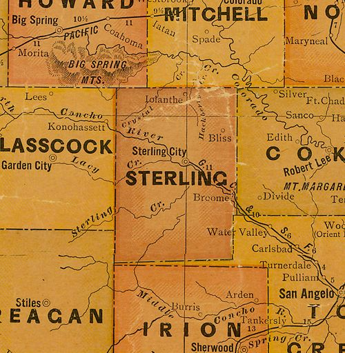 Sterling  County TX 1920s map