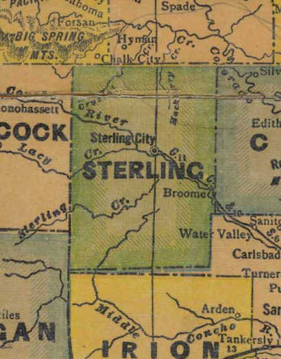 Sterling  County TX 1940s map