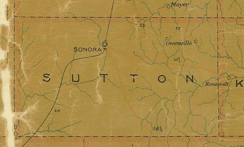 TX Sutton County 1907 Postal Map
