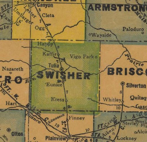 Swisher County TX 1940s map