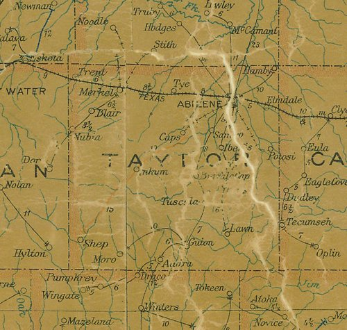 TX - Taylor County Texas 1907 Postal Map