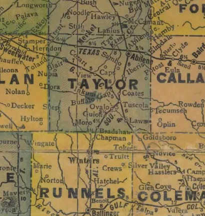 Taylor County Texas 1940s map