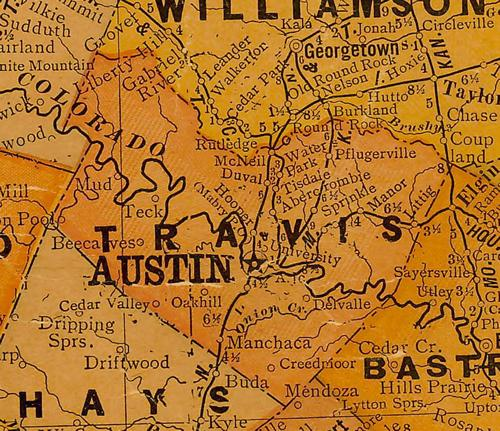 Travis County TX 1920s Map