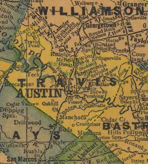 Texas Travis County 1940s map