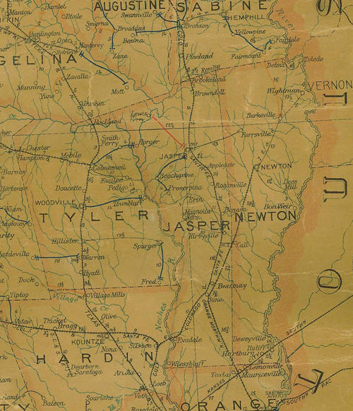 TX 1907 postal map - Tyler, Jasper & Newton Counties