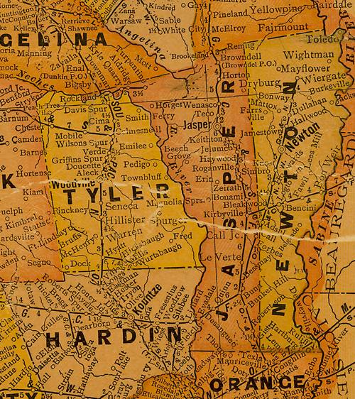 Tyler Jasper & Newton Counties 1920s Texas map