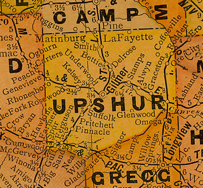 Upshur County TX 1920s Map