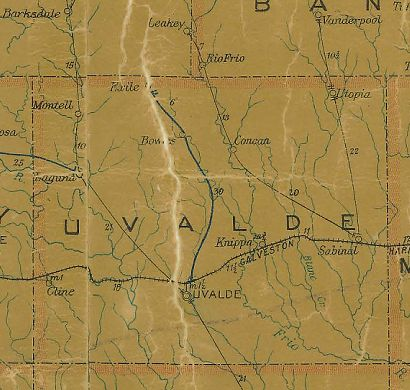 Uvalde County Texas 1907 Postal map