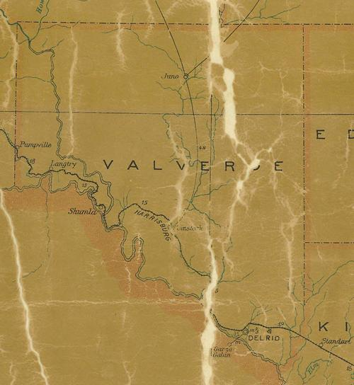 Val Verde County Texas 1907 vintage postal map