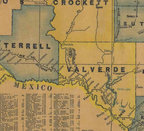 Val Verde County Texas 1940s vintage map