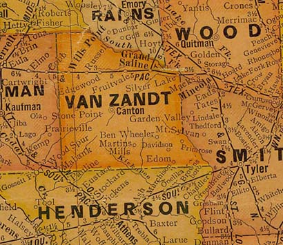 Van Zandt County TX 1920s Map